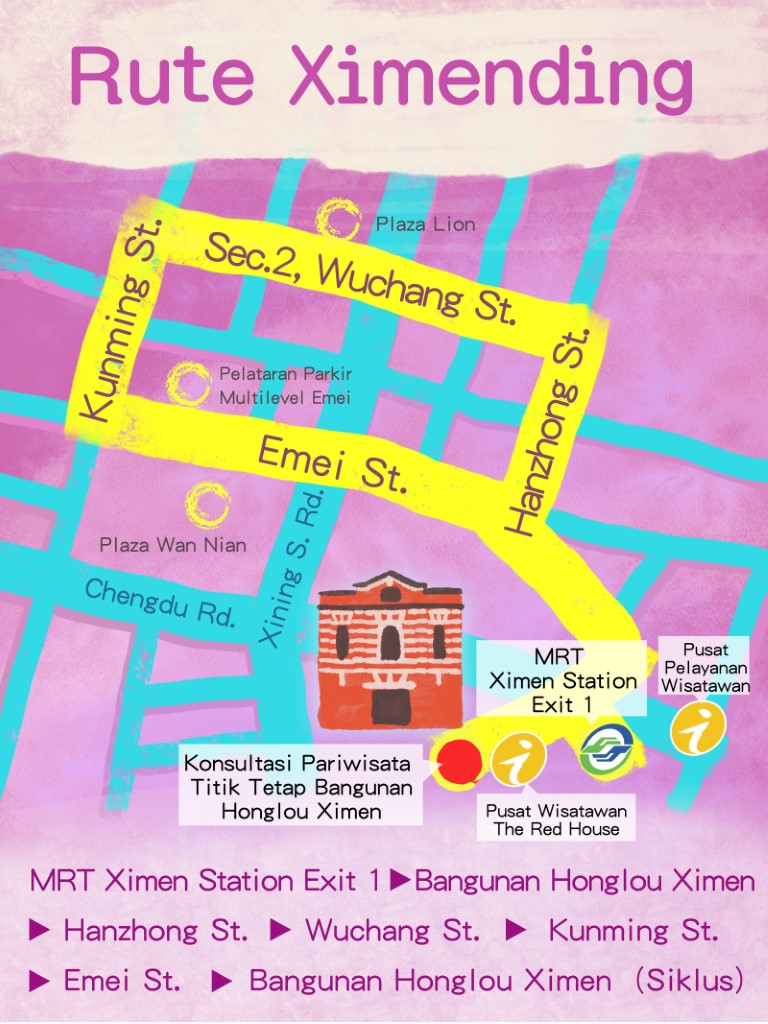 Ximending Route Map