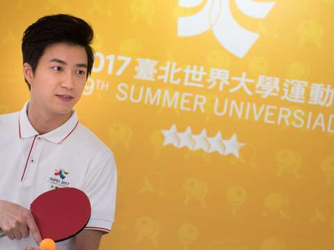 Taipei Lantern Festival Spokesperson, Chiang Hung-Chieh, Visits Universiade Interactive Area at the Opening Ceremony